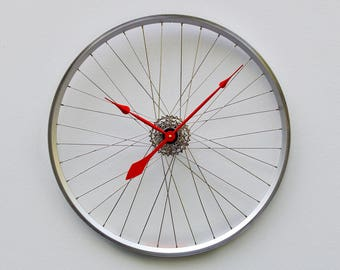 Bike Wheel Clock, Large Wall Clock, Cyclist Gift, Unique Wedding Gift, Steampunk Decor, Bicycle Wall Clock, Modern Wall Clock , road bike