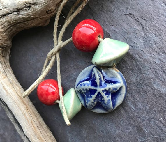 Starfish Ceramic Set Handmade Ceramic Beads Artisan