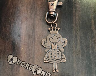 Extra Large Red Copper Princess Progress Keeper, Clip on Charm, knitting supplies, stitchmarkers, knitter gift, Key Charm, Zipper Charm