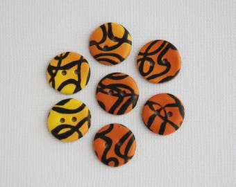 15 mm patterned multicolors handmade Buttons, Set of 7, Orange yellow brown