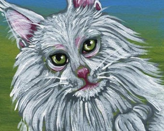 Dog Days of Summer ACEO ATC White  Maine Coon Cat Pet  Original Minature Painting  Art-Carla Smale
