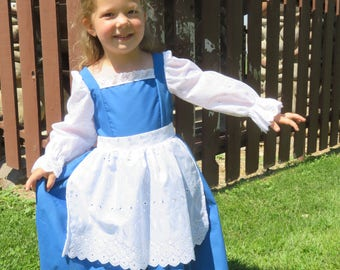 Belle's Blue Provincial Town Costume Dress. Belle cute blue dress, Costume, blue dress with eyelet apron, handmade, new, sizes 2 thru 8