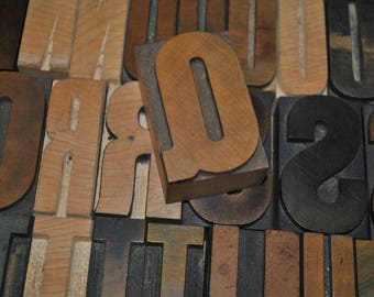 Letter Q Vintage Wood Letterpress   Capital Letter Q  Antique Letterpress Block 2.5 Inches Tall