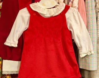 NOS Red Velvet Dress 0/3 Months
