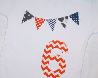Boys 6th Birthday Pennant Shirt - Size 6 white short sleeve with orange chevron number 6 and pennant banner in orange, navy, and gray