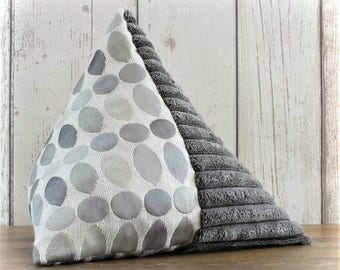 Fabric Doorstop, Doorstopper in Silver Grey Spot & Chenille Fabric, Triangular, Pyramid Shape