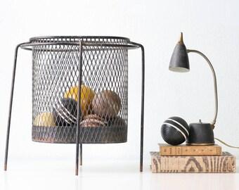 Vintage Mid Century Modern Trash Can, Waste Basket, Mod Atomic Industrial Style