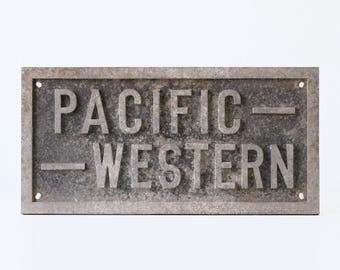 Vintage Railroad Sign, Pacific Western
