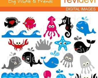 35% OFF SALE Sea animals clipart / Commercial Use Clipart - Big Whale and Friends - Digital Images