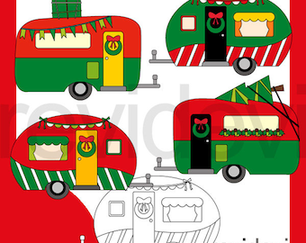 Christmas clipart red green / Christmas RV camper caravan clip art / commercial use graphic, instant download