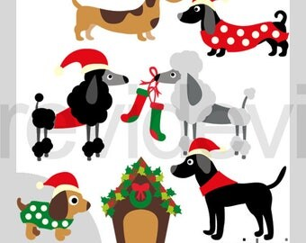 Christmas dogs clipart / puppy clip art commercial use / dachshund, puddle, labrador pet clipart / digital graphic, instant download