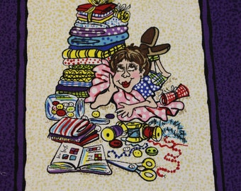 """Stash Management Panel 9 squares 19"""" x 24"""" Lime or Purple 100% cotton fabric  by Quilt Country for Moda"""