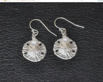 Dangle Earrings, Sterling Silver, Freshwater pearls, Sand Dollars-Under the sea, 925 Sterling Silver, Nautical Earrings
