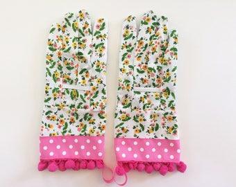 Designer Garden Gloves - Spring Flowers, Pink Polka Dots
