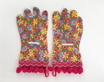 designer gardening gloves. Designer Garden Gloves  Spring Floral Pattern and Pink Pom Poms Fancy Work for gloves Etsy