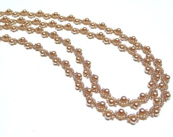 rose gold pearl necklace,rose gold beaded necklace,rose gold pearl beaded necklace,handmade pearl necklace,wedding, bridesmaid gift