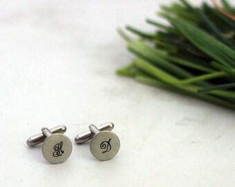 Custom Initial Cuff Links,Stamped Cuff Links, Wedding Cuff Links Wedding Party