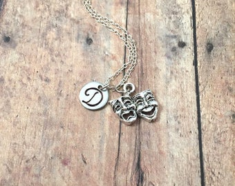 Drama mask initial necklace - drama jewelry, gift for actress, theater jewelry, comedy tragedy mask necklace, theatre necklace, drama charm
