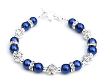 Royal Blue Bracelet, Royal Blue Wedding Jewelry, Bridesmaid Presents, Pearl Rhinestone Jewelry, Something Blue, Summer Wedding, Blue Wedding