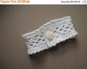 First Fall Sale - 15% Off Wristlet no. 63, bright white ruffled lace band with vintage button