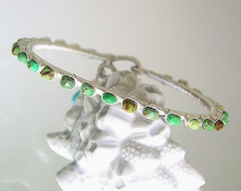 Green Turquoise Silver Bracelet, Studded Gemstone Sterling Bangle, Mod Southwestern, Modern Slender Stackable Bracelet