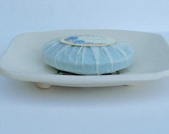 Ceramic Soap Dish, Footed, Handmade, Echeveria
