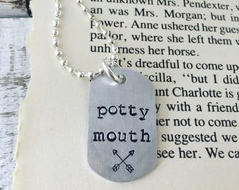 Potty mouth necklace, potty mouth metal stamped jewelry, cuss words and chaos necklace, potty mouth jewelry, potty mouth accessory