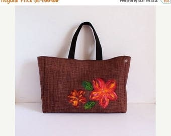 ON SALE Large brown tote bag with flowers and crystals- A