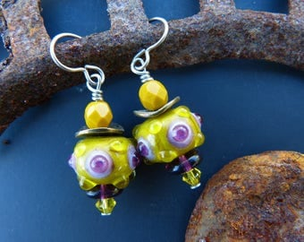 Mustard and Purple Lampwork Bead Earrings