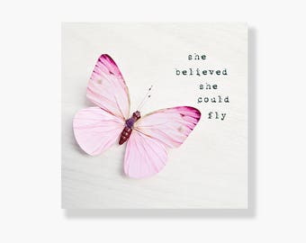 Butterfly photo canvas, nursery wall art, girls room decor, pastel pink, inspirational art, butterfly decor - She believed she could fly