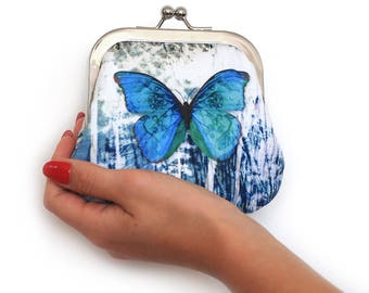 Blue butterfly, large coin purse, credit card pouch