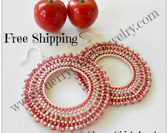 Seed Beaded Hoops - Hoop Earrings - Beaded hoop earrings - Hoop Earrings - Seed Bead Earrings - Beadwork Hoops - Free Shipping