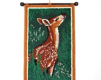 SUMMER SALE/ 30% off Vintage 60s 70s Deer Woven Wall Hanging