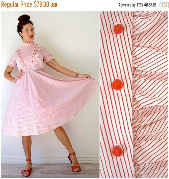 SUMMER SALE / 20% off Vintage 70s does 50s Red and White Striped Cotton Shirt Waist Dress with Ruffled Paneled Bodice and Rose Buttons (size