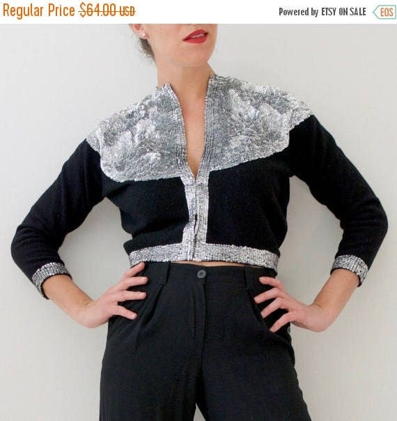 SUMMER SALE/ 30% off Vintage 60s Silver Sequined Cropped Black Cashmere Cardigan (size small, medium)