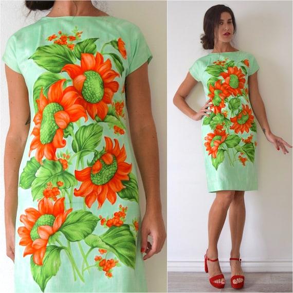 Vintage 60s Mint Green and Poppy Orange Hawaiian Floral Print Wiggle Dress (size medium)