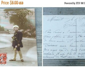 ON SALE Vintage Antique 1900 /1910 postcard /old French / recolored / Happy new year