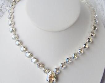 SALE Swarovski crystal rhinestone necklace / Crystal Moonlight / Bridesmaid / Statement necklace / Bridal / Tennis necklace