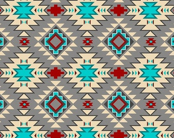 Native Argyle, Grey Multi ,Abstract, Fabric by David Textiles, Southwestern, Cotton Fabric - YARD