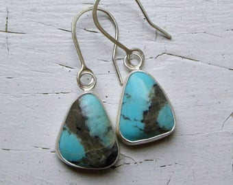 Handmade Teardrop American Campitos Turquoise and Sterling Silver Earrings