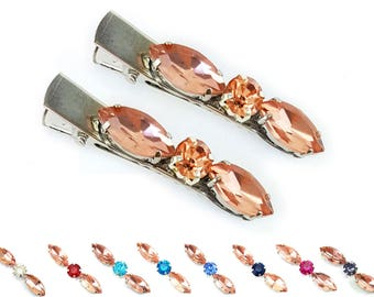 Rose Gold Rhinestone Hair Clips - Peach Crystal Hair Clips, Peach Hair Jewelry, Pink Peach Rose Gold Hair Accessories