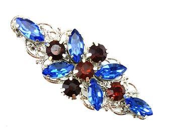 Topaz Navy Blue Rhinestone Hair Clip - Blue Crystal Clip, Blue Alligator Clip, Something Blue, Hair Accessories Prom