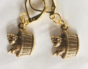 Puppy in a basket earrings pug small gold tone handmade Victorian styling for pierced ears