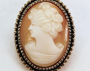 Vintage shell cameo pin 1950s gold tone lady