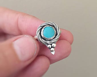 Turquoise Ring, Silver Ring, Size 6, Gemstone Ring, Stacking Ring, Delicate Gift for Her, December Birthstone