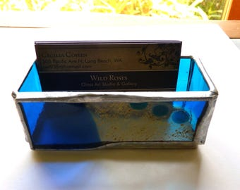 Business Card Holder - Stained Glass Box with Fused Front - Gold and Blue