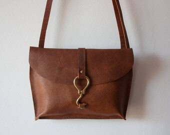 Reverse Farrier Messenger // Leather Crossbody Bag / Leather Cross Body Bag / Equestrian Gifts / Leather Bag / Brown Leather Purse