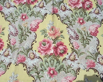 1940s Floral barkcloth era fabric, 3.25 yds - Cohama Florentine rose bouquet scrolls - Hollywood Baroque
