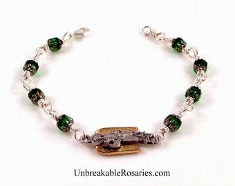 Saint Gabriel the Archangel Wire-Wrapped Charm Bracelet In Emerald Green Cathedral Glass by Unbreakable Rosaries