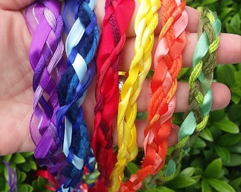 6 Wedding Handfasting Cord - Rainbow for 6 cord ceremony Set2 red orange yellow green blue purple